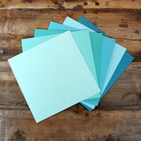 My Colors Cardstock - My Minds Eye - 12 x 12 Canvas Cardstock Pack - Aqua Tones - 18 Pack