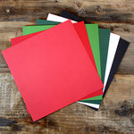 My Colors Cardstock - My Minds Eye - 12 x 12 Canvas Cardstock Pack - Holiday Colors 1