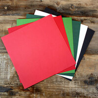 My Colors Cardstock - My Minds Eye - 12 x 12 Canvas Cardstock Pack - Holiday Colors 1 - 18 Pack