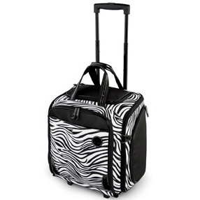 MiMi - Oasis Collection - Large Wheeled Tote - Zebra Print Microfiber