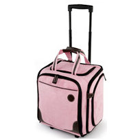 MiMi - Classic Collection - Large Wheeled Tote - Pink and Chocolate Microsuede