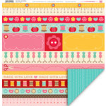 My Little Shoebox - Sew Cute Collection - 12 x 12 Double Sided Paper - Hand Made