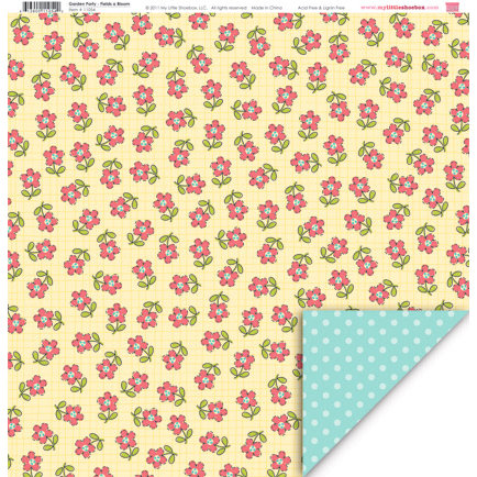 My Little Shoebox - Garden Party Collection - 12 x 12 Double Sided Paper - Fields a Bloom