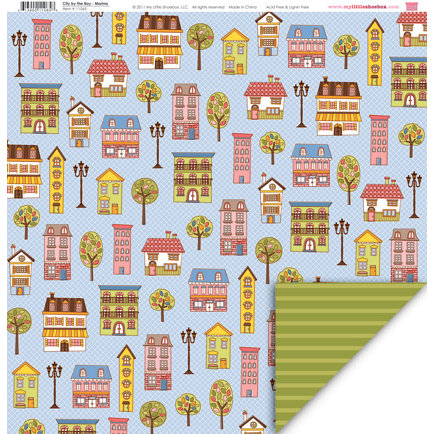 My Little Shoebox - City by the Bay Collection - 12 x 12 Double Sided Paper - Marina