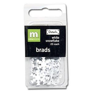 Making Memories Brads - Snowflake - White