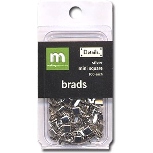 Making Memories Mini Brads - Square - Silver, CLEARANCE