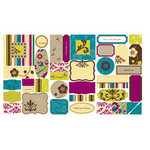 Making Memories - Stickers Flocked - Labels and Ephemera - Funky Vintage - Ruby, CLEARANCE