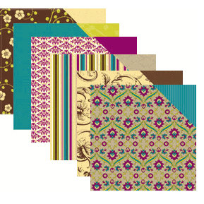 Making Memories - 12x12 Embellishment Paper - Funky Vintage - Ruby