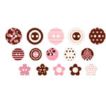Making Memories - Cute As A Button - Chipboard Buttons - Brown and Pink