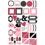 Making Memories - Glitter Clears - Clear Glittered Pieces - Shapes Red and Pink, CLEARANCE