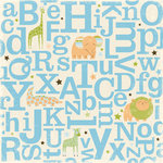 Making Memories - Animal Crackers Collection - 12x12 Flocked Paper - Jack Flocked Alphabet