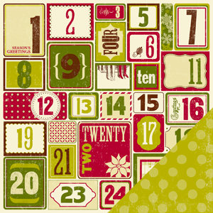 Making Memories - Fa La La Collection - Christmas - 12 x 12 Double Sided Paper - Number, CLEARANCE