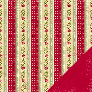 Making Memories - Fa La La Collection - Christmas - 12 x 12 Double Sided Paper - Poinsettia Stripe
