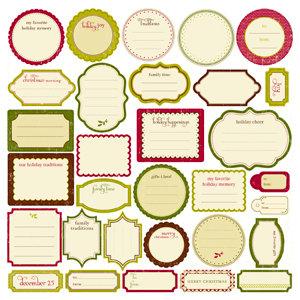 Making Memories - Fa La La Collection - Christmas - Die Cut Journaling Stickers