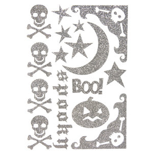 Making Memories - Spellbound Halloween Collection - Glitter Stickers - Silver, CLEARANCE