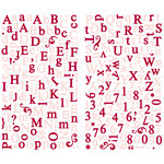Making Memories - Paperie Collection - Shimmer Alphabet Stickers - Rouge, CLEARANCE