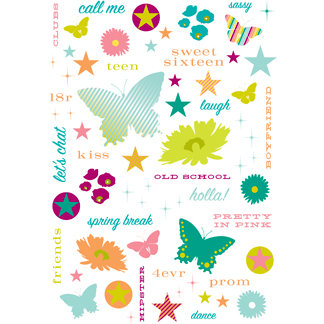 Making Memories - Just Chillin Girl Collection - Glitter Rub Ons, CLEARANCE