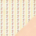 Making Memories - Flower Patch Collection - 12 x 12 Double Sided Paper - Floral Stripe Flower Patch, CLEARANCE