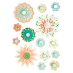 Making Memories - Flower Patch Collection - Clear Dimensional Stickers - Flowers, CLEARANCE