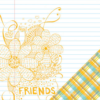 Making Memories - Just Chillin Girl Collection - 12 x 12 Double Sided Paper - Doodle , CLEARANCE