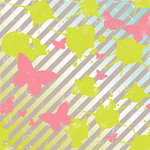 Making Memories - Just Chillin Girl Collection - 12 x 12 Glitter Paper - Butterfly, CLEARANCE