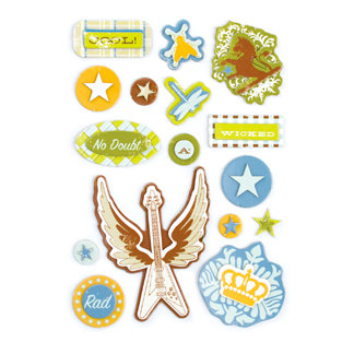Making Memories - Just Chillin Boy Collection - Layered Chipboard Stickers