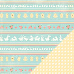 Making Memories - Flower Patch Collection - 12 x 12 Double Sided Paper - Stripe Flower Patch, CLEARANCE