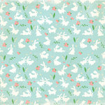 Making Memories - Flower Patch Collection - 12 x 12 Flocked Paper - Bunny Flower Patch, CLEARANCE