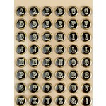 Making Memories - Vintage Findings Collection - Stickers - Foil Epoxy Alphabet - Black, CLEARANCE