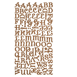 Making Memories - Shimmer Alphabet Stickers - Diva Font - Brown, CLEARANCE