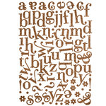 Making Memories - Shimmer Chipboard Alphabet - Mixed Jigsaw - Swash Font - Brown, CLEARANCE