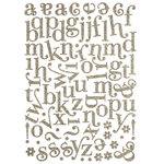 Making Memories - Shimmer Chipboard Alphabet - Mixed Jigsaw - Swash Font - Antique Silver, CLEARANCE