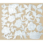 Making Memories - Vintage Findings Collection - Metallic Embossed Ephemera - Silver, CLEARANCE