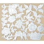 Making Memories - Vintage Findings Collection - Metallic Embossed Ephemera - Silver, CLEARANCE