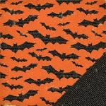 Making Memories - Spook Alley Collection - Halloween - 12 x 12 Double Sided Paper - Bat Newsprint , CLEARANCE