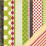 Making Memories - Mistletoe Collection - Christmas - 12 x 12 Double Sided Paper - Pattern Stripe, BRAND NEW