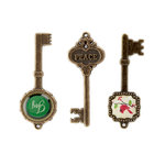Making Memories - Mistletoe Collection - Christmas - Metal Keys , BRAND NEW
