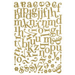Making Memories - Shimmer Chipboard Alphabet - Jigsaw - Swash Font - Gold , CLEARANCE