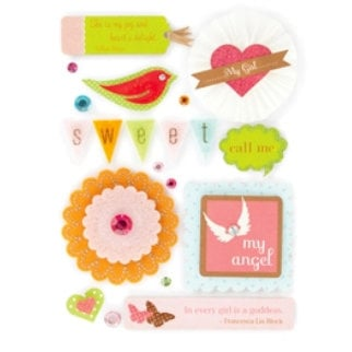 Making Memories - Design Shop Collection - 3 Dimensional Stickers - All Girl