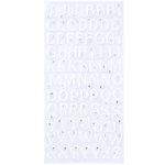 Making Memories - Glitter Bling Collection - Jeweled Alphabet Stickers - White, CLEARANCE