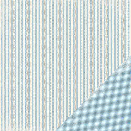 Making Memories - Pitter Patter Collection - 12 x 12 Double Sided Paper - Oliver Stripe, CLEARANCE