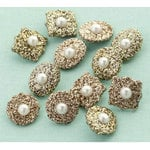 Making Memories - Glitter Deco Brads with Pearls - Antique Gold, CLEARANCE