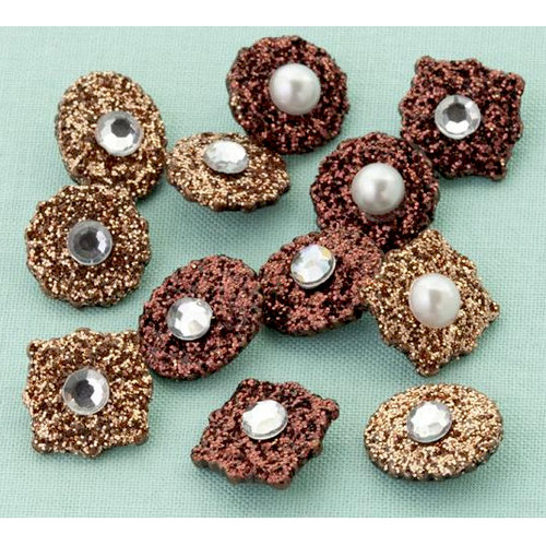 Making Memories - Glitter Deco Brads with Gems - Antique Copper, CLEARANCE
