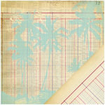 Making Memories - Panorama Collection - 12 x 12 Double Sided Paper - Ledger Palm Tree
