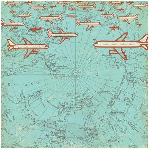 Making Memories - Panorama Collection - 12 x 12 Varnish Paper - Airplane