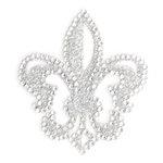 Making Memories - Glitter Bling Collection - Self Adhesive Icon - Fleur de Lis - Silver