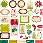 Making Memories - Noel Collection - Christmas - Die Cut Pieces with Glitter Accents