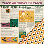 Making Memories - Toil and Trouble Collection - Halloween - 12 x 12 Double Sided Paper - Newspaper