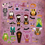 Making Memories - Toil and Trouble Collection - Halloween - 12 x 12 Die Cut Paper - Kiss Cut Paper Doll