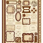 Making Memories - Paper Reverie Collection - Cardstock Stickers - Ephemera - Brun Antique